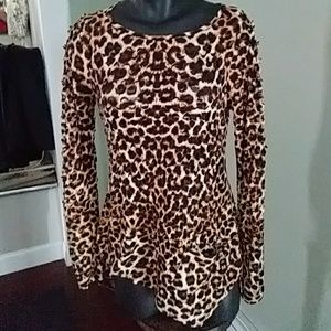 Adore Leopard Distressed Long Sleeve Top